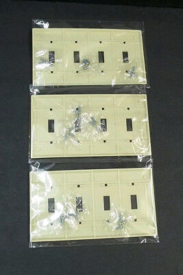 4 Gang Light Switch Cover Plate Eagle Made in USA Ivory w Screws NOS Electrical