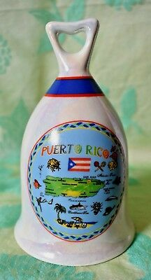 Souvenir Puerto Rico Bell irridescent finish with map 4 7/8 inches tall