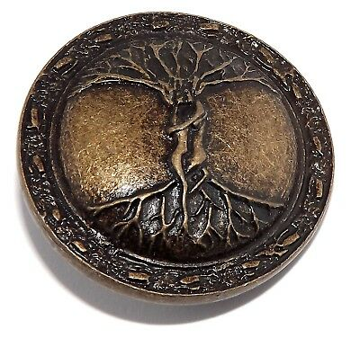 Celtic Pagan Entwined Lovers Tree of Life Rivet Concho (Brass Plated Pewter)