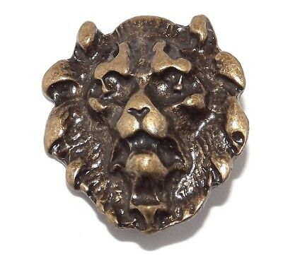 Head of a Lion Brass Plated Pewter Rivet Concho