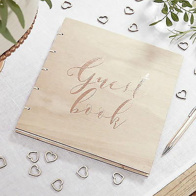 Rose Gold WOODEN GUEST BOOK Vintage Boho Wedding Christening Keepsake Classic