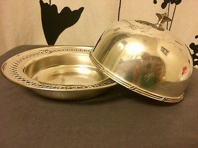 Antique Sheffield Sterling Silver Plated Round Butter Dish