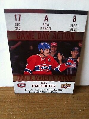 Tim Horton's Card Gda-8 Game Day Action Max Pacioretty  2017-18