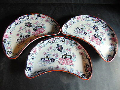 Minton Oriental Rose Crescent Shaped Serving Dishes x3 In Good Condition