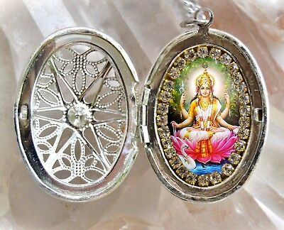 Saraswati Vandana Goddess Handmade Locket Necklace Hindu Jewelry Medal Pendant