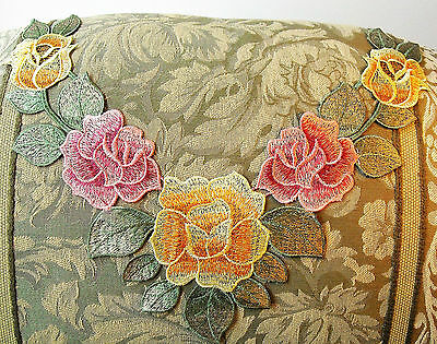 FREE SHIP Large Flower Applique Pink Yellow Satiny Rose Neckline Embroidery