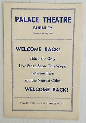 1957. Palace Theatre Burnley Programme.