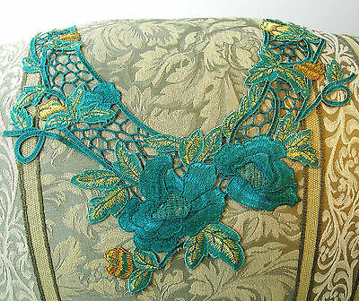 FREE SHIP Large Flower Applique Teal Green Gold Satiny Rose Neckline Embroidery