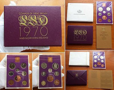 """1970 UK 8x Coin Royal Mint FDC Proof Set """"Last Sterling"""" - Cat. SP# PS20 Scarce!"""