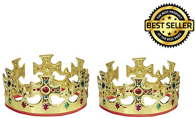 halloween Royalty 2 Gold King Crown Accessory Fits Prince And Queen Plastic Made
