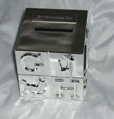 New Baby/christening Gift- Personalized Silver Plated Cube Money Box