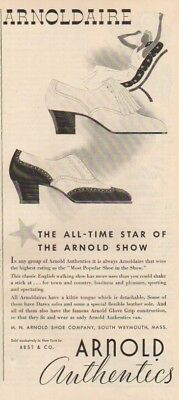 1937 M.N. Arnold Shoe Co. South Weymouth MA~Arnoldaire Authentics 30s Fashion Ad