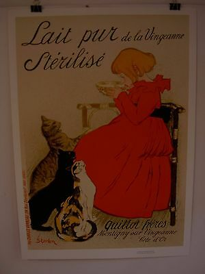"""Vintage poster by Steinlin  """"Lait Pur Sterilise""""  cats w/girl approx. 23"""" x 32"""""""