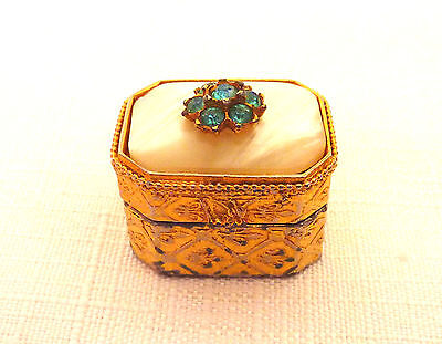 Vintage Florenza Gold Plated, Glass Rhinestone & Mother of Pearl Look Pill Box