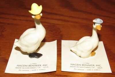 Vintage NOS Hagen Renaker Miniature Mama & Papa Goose w/hat Figurine on Card