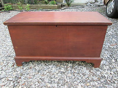Antique 19Th C Blanket Chest Box Hardwood Bracket Base Country Primitive Patina