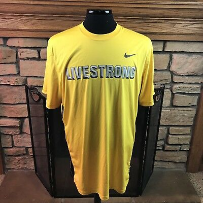 Nike Dri-Fit LIVESTRONG S/S Athletic Top Men's Yellow Black Silver Size XL