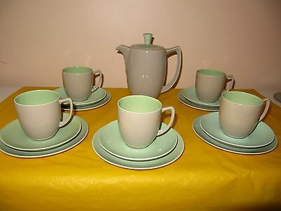 BRANKSOME Grey,Green&Duck Blue COFFEE SET for 5  firing faults, used in VGC
