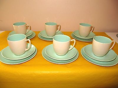 BRANKSOME Cream&Light Green COFFEE/TEA SET for 6 (plates,cups&saucers), in VGC