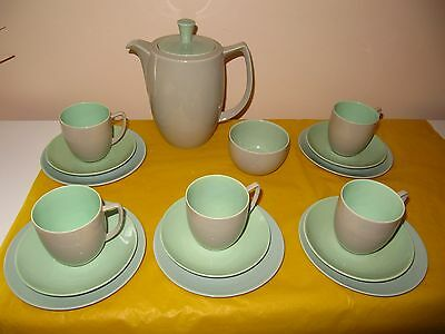BRANKSOME Grey,Green&Duck Egg Blue COFFEE SET for 5,  firing flaws,used in VGC