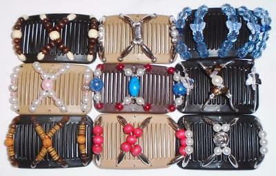 """Double MINI Hair Combs, Angel Wing Clips 3x2.5"""", African Butterfly, Quality  MC4"""