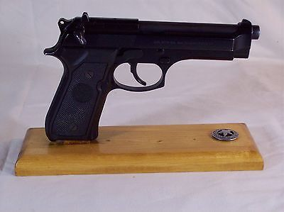 Light Stained Handmade Wood Pistol Display Stand Fits MOST Full Size SA Pistols