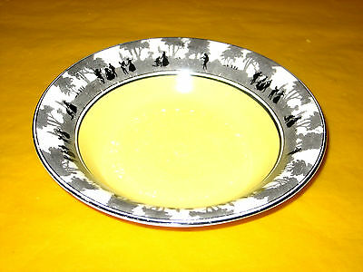 "ART DECO FOLEY CHINA SILHOUETTE BOWL dia 6.5"" chip,wear on glaze&scratches"