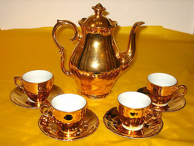 VINTAGE EPIAG CHINA GOLD LUSTRE COFFEE SET made in Czechoslovakia    (1.0/33A)