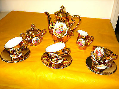 BAVARIA WALDSASSEN COFFEE SET rubbing&scratches on gold,DIFFERENT BACKSTAMPS