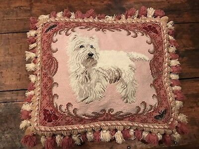 Needlepoint West Highland Terrier Pillow Westie Dog