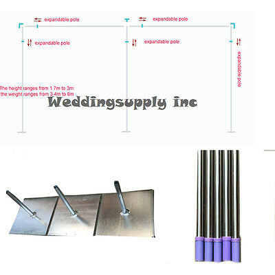 3m H x6m W Wedding Backdrop Stand/Pipe Wedding Curtain Frame telescopic Pole