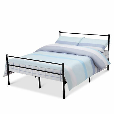QUEEN SIZE METAL Bed Frame Platform Headboards 6 Leg Bedroom ...