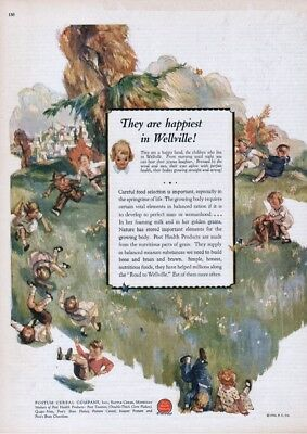 1926 Road to Wellville Happy Children Post Cereal Vintage Kitchen Wall Décor Ad
