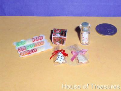 DOLLHOUSE *CHRISTMAS* TINY PUDDING BOX +CANDIED FRUIT JELLY TRAY+BOTTLE of MINTS