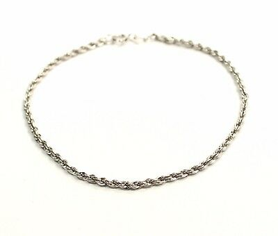"Outstanding  2 mm Rope Design ""DANECRAFT""   Estate Bracelet in .925 Sterling Sil"