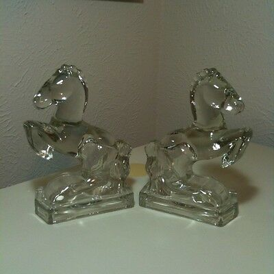 Vintage Mid Century LE Smith Glass Rearing Horse Bookends