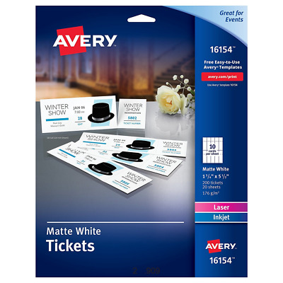 Avery Blank Printable Tickets, Tear-Away Stubs, Perforated Raffle, Pack of 200