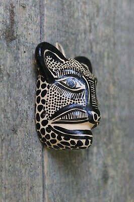 Small Black & Tan Jaguar Wall Mask Oval Clay Hand made Chiapas Mexican Folk Art