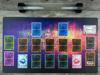 YuGiOh Custom Playmat Master Rule 4 Link Zones TCG Mat Free High Quality Tube