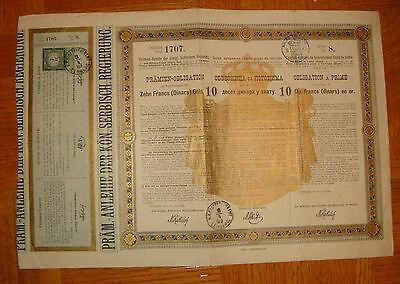 Serbia Serbie.1888.Government Bond.10 Dinars in gold.Lemberg 1889 stamp.