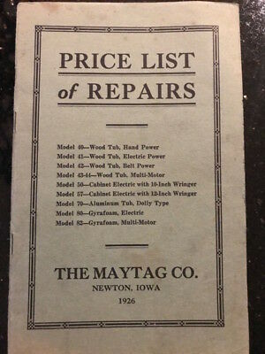 """Antique """"Price List of Repairs"""" The Maytag Co, 1926 & Maytag Memo Book 1955"""