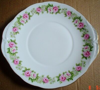 Very Pretty Colclough Pink And White Roses Cake Plate