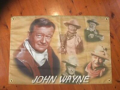 the duke man cave flag wall hanging pool room classic  film movie John Wayne