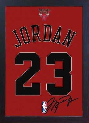 Michael Jordan T-shirt Chicago Bulls signed NBA CANVAS 100% COTTON Framed