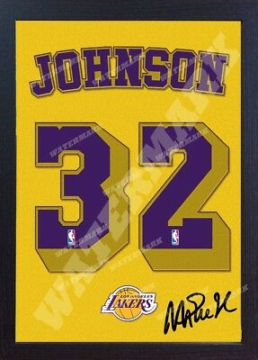 Magic Johnson LA Lakers NBA signed autograph t-shirt CANVAS 100% cotton Framed