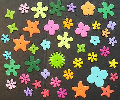 ELLO FLOWER AND STAR SHAPES x 44. MIXED COLOURS.  UK DISPATCH