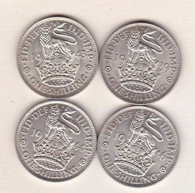 1939/1943/1944 & 1946 English George Vi Shillings In Near Mint Condition