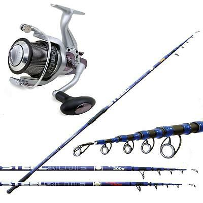 KP2815 Kit Surfcasting Canna Blue Steel 180 gr + Mulinello Beach Steel Cast FEU