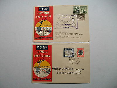Australia To South Africa & Return By Qantas Empire Airways First Flight Cover
