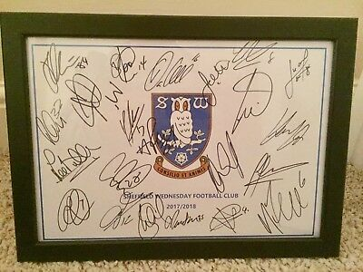 Hand Signed & Framed (x23) Sheffield Wednesday FC A4 2017/18 Squad Sheet